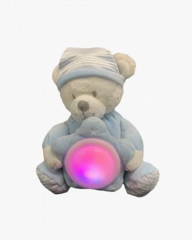 peluche veilleuse ours bleu ciel brodée