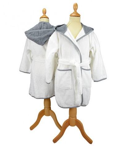 Peignoir enfant à capuche 400 g/m² Blanc Gris