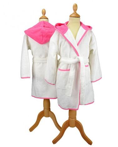 Peignoir enfant à capuche 400 g/m² Blanc Pink