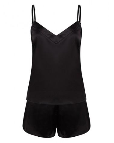 Pyjama court en satin  Noir pour femme