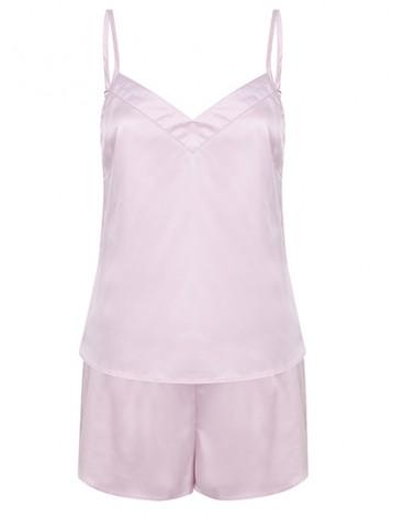 Pyjama court en satin  rose pour femme
