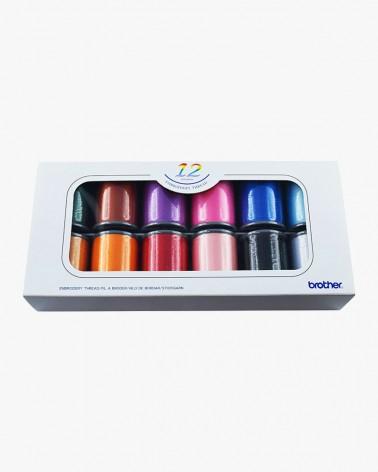 Boîte de fils à broder Brother ETS12N - 12 couleurs