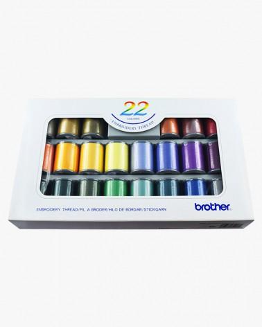 Boîte de fils à broder Brother ETS22N - 22 couleurs